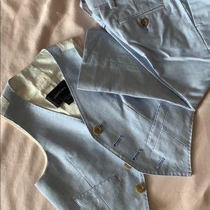 Blue linen pants and vest.